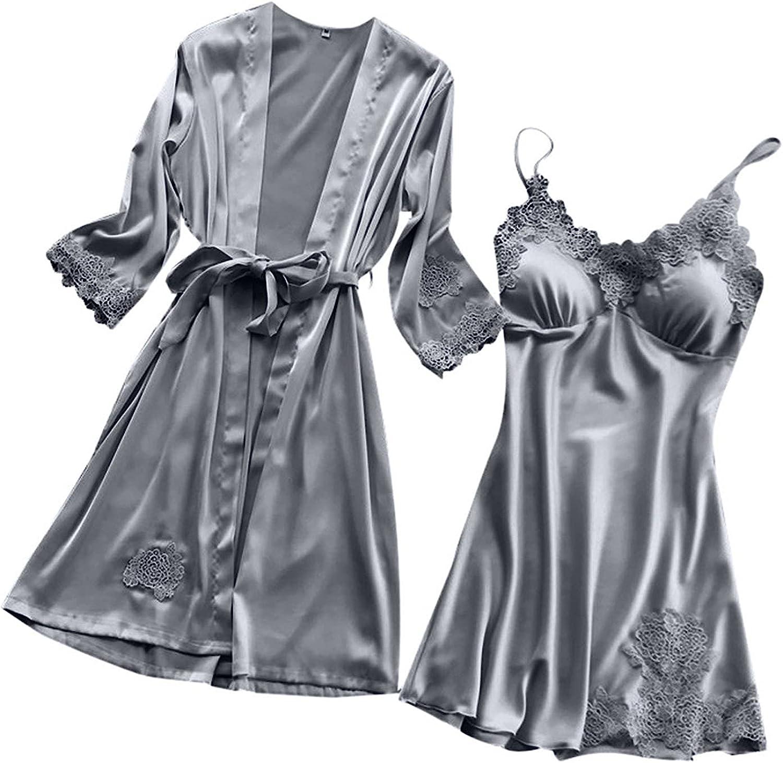 Sexy Silk Satin Robe, Women Camisole Pajama Dress 2 Piece Set Long Satin Robes Suit Bathrobe Nightgown Chemise