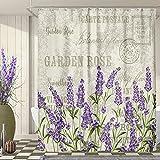 SVBright Duschvorhang, Lavendel, Vintage-Stil, violette Blumen, Grunge Kräuter, 152 x 183 cm, Vintage-Blätter, Beige, 12 Stück Haken, Polyester, wasserdichter Stoff, Badezimmer, Badewannenpaneele