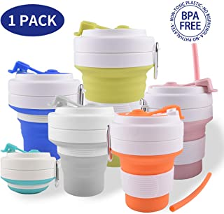 Dalebox Collapsible Silicone Cup - Foldable Drinking Mug with Straw Leak-Proof lid BPA Free Food Grade, Water, Coffee, Tea & Snacks for Hiking Camping Picnic & Work Expandable 550ml (19oz) (1 Pack)