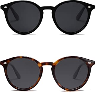 2 Pack Classic Retro Round Polarized Sunglasses for Women...