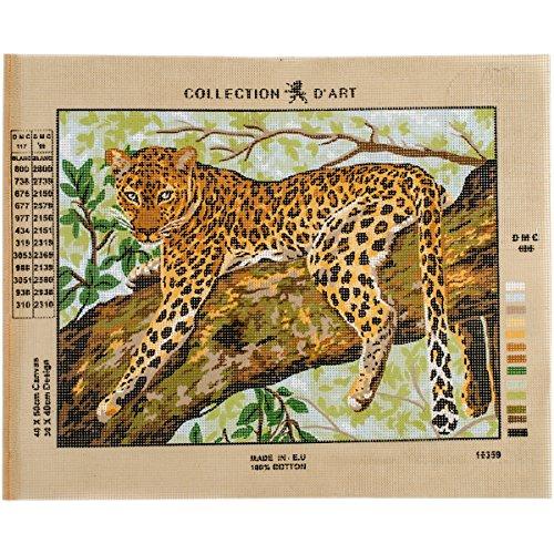 Collection D'Art Léopard Leinwand für Stiekerei mit gedruckten Muster, Gobelin, Baumwolle, antik, 40 x 50 x 0,1 cm