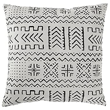 Rivet Mudcloth-Inspired Pillow, 17  x 17 , Pale Gray