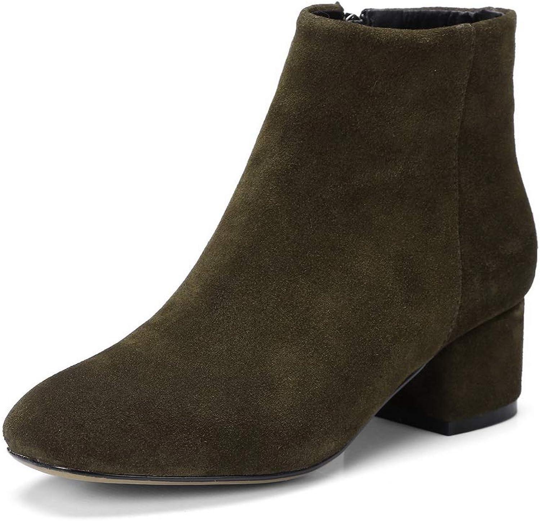 AdeeSu Womens Nubuck Kitten-Heels Solid Brown Urethane Boots SXE04301-9.5 B(M) US