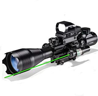 XopingABC Hunting Rifle Scope Combo C4-16/12x50EG Dual Illuminated with Green Laser Sight 4 Holographic Reticle Red/Green Dot for Weaver/Rail Mount
