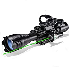 Hunting Rifle Scope Combo C4-16x50EG Dual Illuminated with Green Laser sight and 4 Holographic Reticle Red/Green Dot for 2...