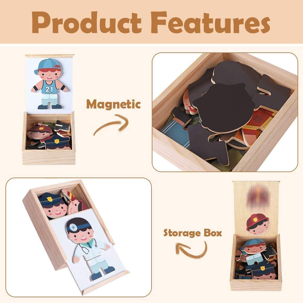 Noetoy Magnetic Puzzle Toys Wooden Dress Up Toys Change Clothes Games with Storage Case Educational Gift for 2 3 4 5 Year Olds Kids Toddlers Boys Girls