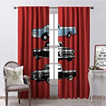 Truck Blackout Curtain Vintage Pickup Vehicle Designs on Abstract Ruby Background Inner City Transport 2 Panel Sets W42 x L84 Inch Ruby Blue White