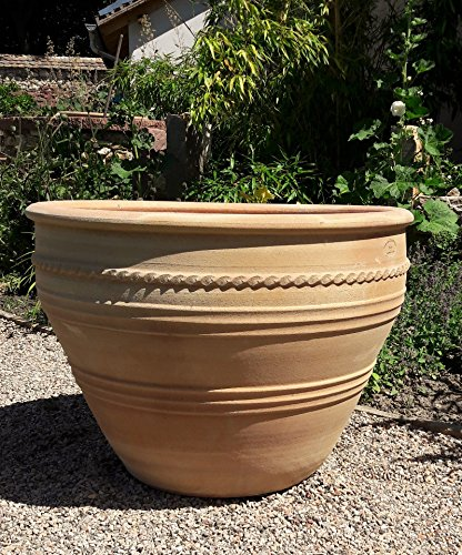 Céramique crète | grande jardinière / cache-pot en terre cuite | céramique antigel | fait main et résistant à l'hiver | idéal pour planter des palmiers oliviers grenade, Veronica 70 cm