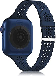 YAXIN Lace Silicone Band Compatible with Apple Watch Band 38mm 40mm 42mm 44mm Women,Slim Narrow Thin Hollowed-out Scalloped Sport Band Soft Replacement Strap for iWatch Series 6 5 4 3 2 1 SE,Dark Blue