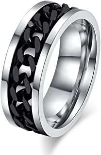 Topick Men's Fashion Black Stainless Steel Wide 8mm Spinner Chain Shaped Ring