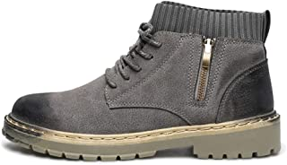 SHENTIANWEI Ankle Boot for Men High Top Work Boots Suede Leather Lace up Side Zipper Burnished Style Anti-Slip Elastic Socks Collar Stitch (Color : Gray, Size : 6 UK)