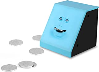 Onerbuy Novelty Face Bank Coin Eating Savings Bank Kids Money Saving Collection Piggy Bank (Blue)