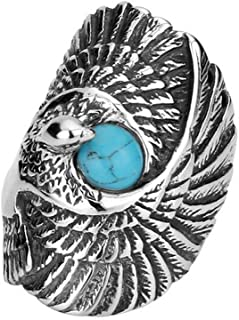 PAMTIER Men's Titanium Steel Vintage Retro Indian Style Silver Eagle Ring with Turquoise