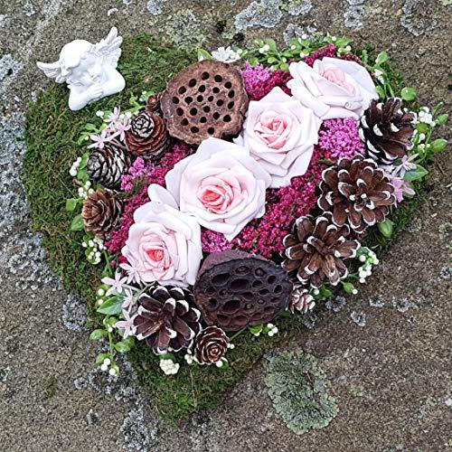 Der-kleine-Dekoladen Grabgesteck Herz rosa Ø 30cm Engel Exoten Allerheiligen Grabschmuck Totensonntag Grabaufleger Urnengarb