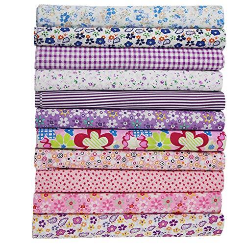 aufodara 11 piezas tela de algodón por metro, paquete de tela 50 x 50 cm, patchwork, tejidos para coser, tela de algodón puro, acolchados, manualidades, telas de algodón, cuadrados (rosa, lila y azul)
