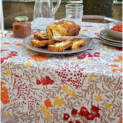 Fleur de Soleil - Nappe enduite Mimosa Rouge Dimension - Rectangle 160x300cm, Finition - Non ourlée (coupe franche), Matière - Coton enduit