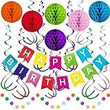King Luau Rainbow Birthday Decorations | Happy Birthday Party Decorations for Girls & Boys with Happy Birthday Banner | Convenient Happy Birthday Decor Kit for Rainbow Surprise Birthday Party