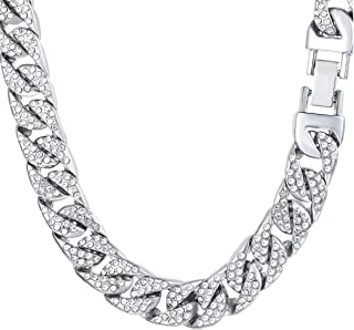 Bforward Jewelry Silver Tone Iced Out Miami Cuban Link Chain White Gold Finish Simulated Diamonds Necklace/Bracelet 14MM (...