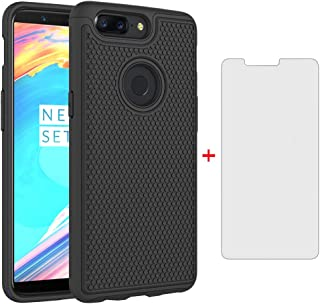Phone Case for Oneplus 5T with Tempered Glass Screen Protector Cover and Rugged Silicone Slim Hard Bumper Protective Accessories Oneplus5T A5010 One Plus5T 1 Plus 1plus 1+ 1+5T Cases Women Men Black