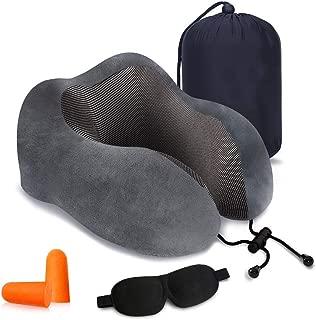RUYE Travel Pillow Pure Memory Foam Neck Pillow - Machine Washable, Airplane Travel Kit with 3D Sleep Mask & Earplugs Grey