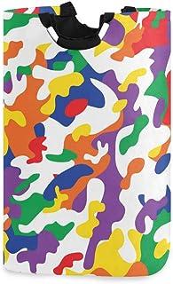 Mnsruu Panier à linge pliable avec poignées Motif camouflage arc-en-ciel