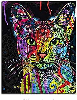 صورة مؤطرة من خلال الأرقام للحيوانات لوحة زيتية على القماش للقط تصنعها بنفسك لتزيين المنزل لغرفة المعيشة 40 × 50 سم