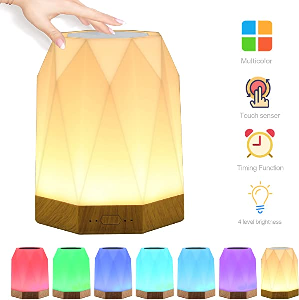 Night Light UNIFUN Touch Lamp For Bedrooms Living Room With Timer Function Portable Table Bedside Lamps Nursery Lamp With USB Rechargeable Dimmable Warm White Light Color Changing RGB