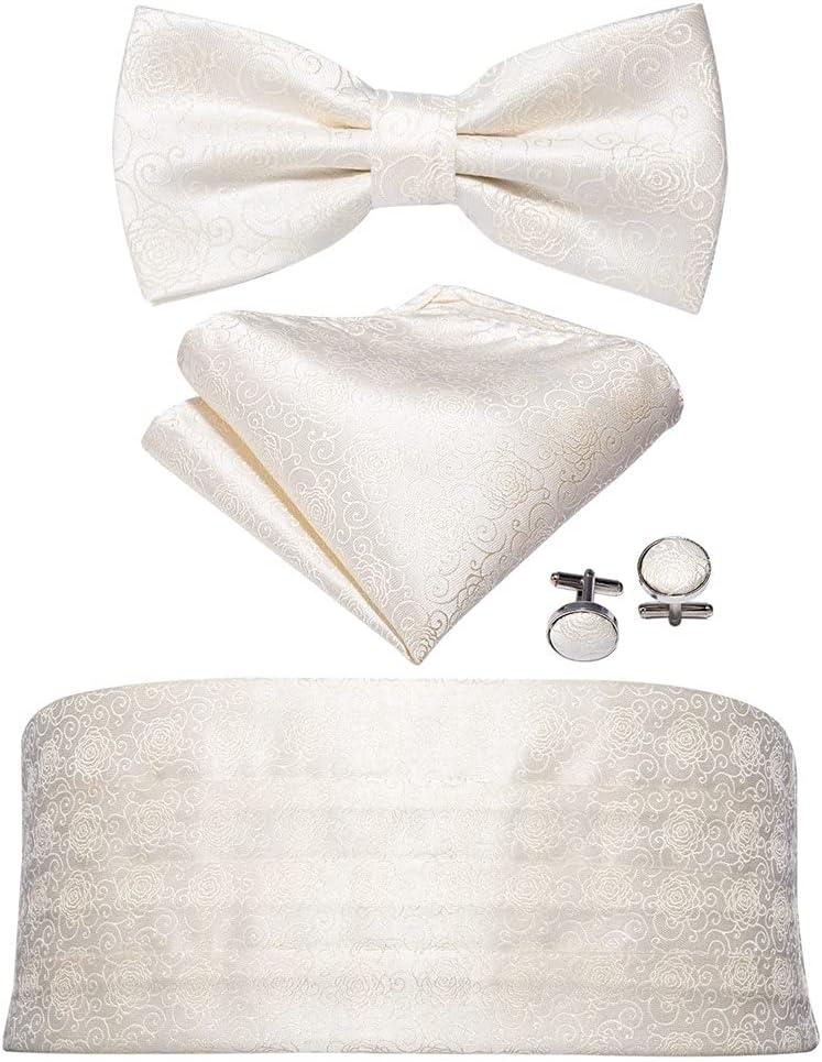 WPYYI Men's Cummerbunds Silk Floral Bow Tie Set Pocket Square Cufflink Formal Tuxedo Suit Accessories (Color : M, Size : One Size)