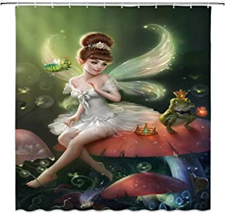jingjiji Fantasy Mushroom Shower Curtain Butterfly Elf Princess Frog Prince Fairy Tale World Cartoon Scenery Bathroom Decoration Curtains Polyester Fabric Waterproof with Hook 70 X 70 Inch Green