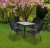 VCM Alu Sitzgruppe 80x80 Mattglas Gartenmöbel Gartengarnitur Tisch Stuhl Essgruppe Gartenset Tisch + 4 Stühle: Anthrazit