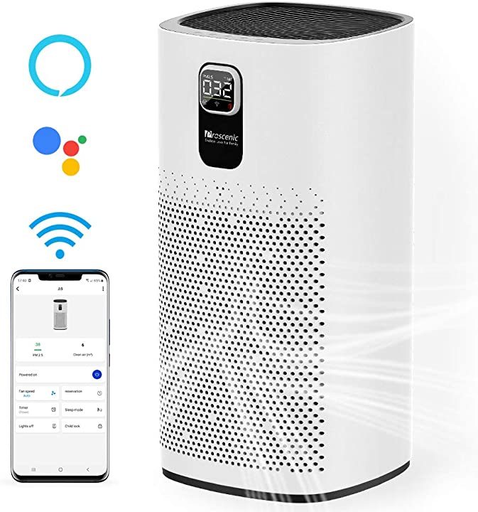 Purificatore d`aria,depuratore air smart con app,cadr fino a 460m³/h,90m²,filtrazione a 4 strati proscenic a9 B08P2KCQQ1