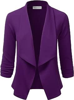 Women's Lightweight Stretch 3/4 Sleeve Blazer Open Front Jacket (S-3XL)