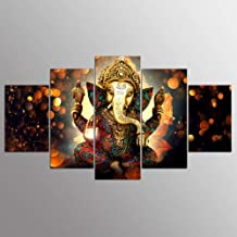 Canvas Painting Wall Art Home,Decor for Living Room HD Prints 5 Pieces Elephant Trunk God Poster Ganesha,Pictures No Frame...