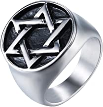 JAJAFOOK Men's Titanium Steel Heavy Gothic Biker Jewish Star of David Signet Round Top Ring Band, 07-13