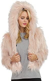 DEATU Womens Hooded Coats, Ladies Autumn Winter Warm Faux Fur Jackets Solid Hooded Parka Outerwea