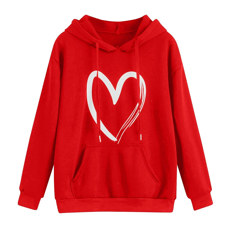 Padaleks Womens Girl Casual Long Sleeve Pullover Sweatshirt Graphic Print Lightweight Hoodies Pocket Shirt Tops