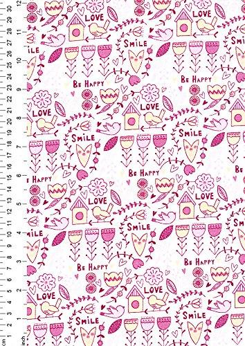 1 metro – rosa – alta calidad 100% algodón Scandi diseño flora pájaros casa floral lindo corazones azul amarillo blanco acolchado patchwork costura artes y manualidades 112 cm de ancho