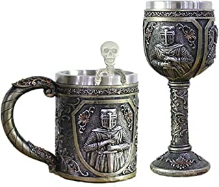 Viking Warrior Skull Mug Goblet Spoon Set of 3 Stainless Steel Coffee Cup Spoon Cool Beer Stein Tankard Funny Coffee Mug Novelty Coffee Cup Big Beer Mug Bar Cup for Halloween, Father's Day & Man Gifts