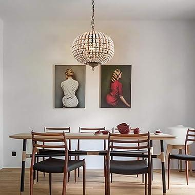 Newrays Wood Bead Chandelier Pendant Light Gray White Finishing Retro Vintage Antique Rustic Kitchen Ceiling Lamp Light Fixtu