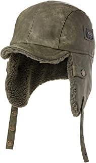 Unisex Ww2 Aviator Bomber Costume Winter Earflap Trooper Faux Leather Hat Pilot Cap 56-62cm