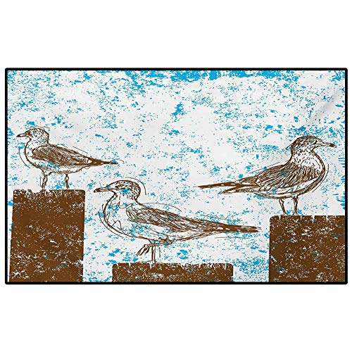 Seagulls Hallway Rug Kids Rug Nursery Rug Gulls Resting on Wooden Pillars Grungy Sketched Print with Abstract Backdrop Home Decor Floor Carpet Blue White Brown 5 x 6 Ft