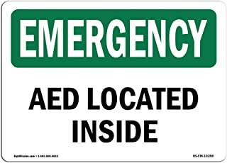 OSHA Emergency Sign - AED On Site with Symbol | Rigid Plastic Sign | Protect Your Business, Construction Site, Warehouse & Shop Area | Made in The USA