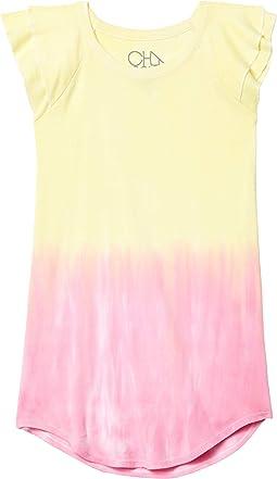 Baby Rib Flutter Sleeve Shirttail Mini Dress (Little Kids/Big Kids)