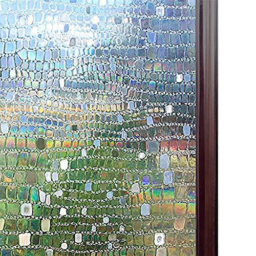 Películas decorativas para ventanas Ventana de vinilo Película decorativa 3D de privacidad - Control del calor Ventana estática aferra el cristal etiqueta Sin pegamento contra los rayos UV autoadhesiv