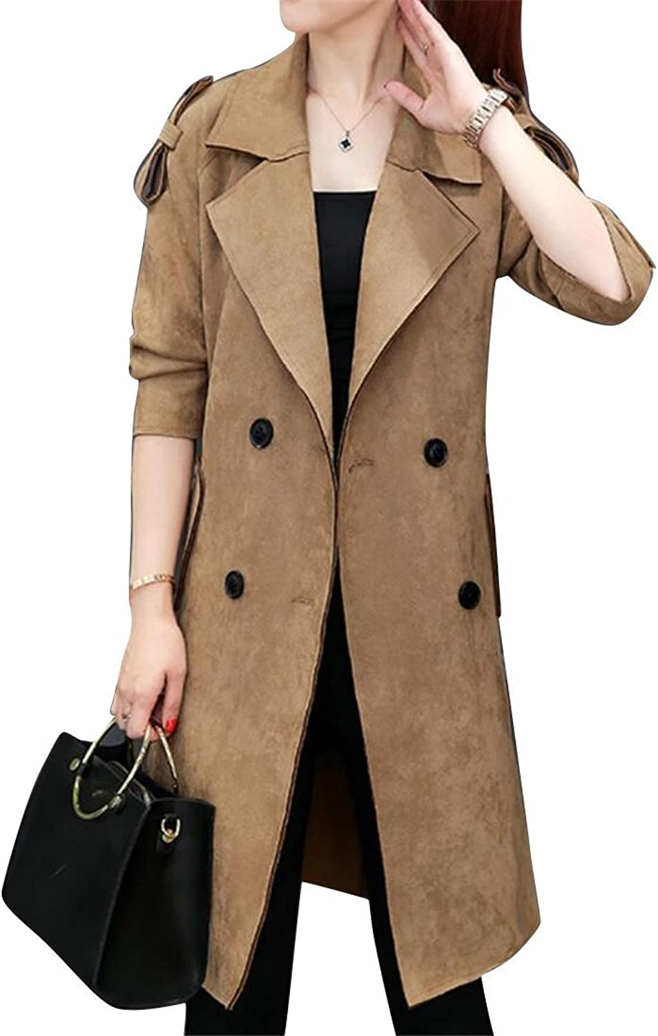 Jotebriyo Women Double Breasted Stylish Turn Down Collar Suede Fabric Faux Leather Longline Jacket Trench Coats