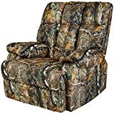 JC Home Liano Rocker Recliner with Camouflage-Print Fabric Upholstery, Jungle Green