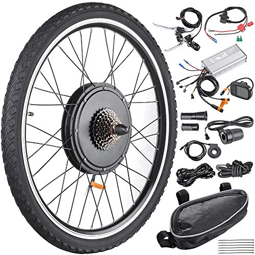 AW 26'x1.75' Rear Wheel Electric Bicycle LCD Display Motor Kit E-Bike Conversion...