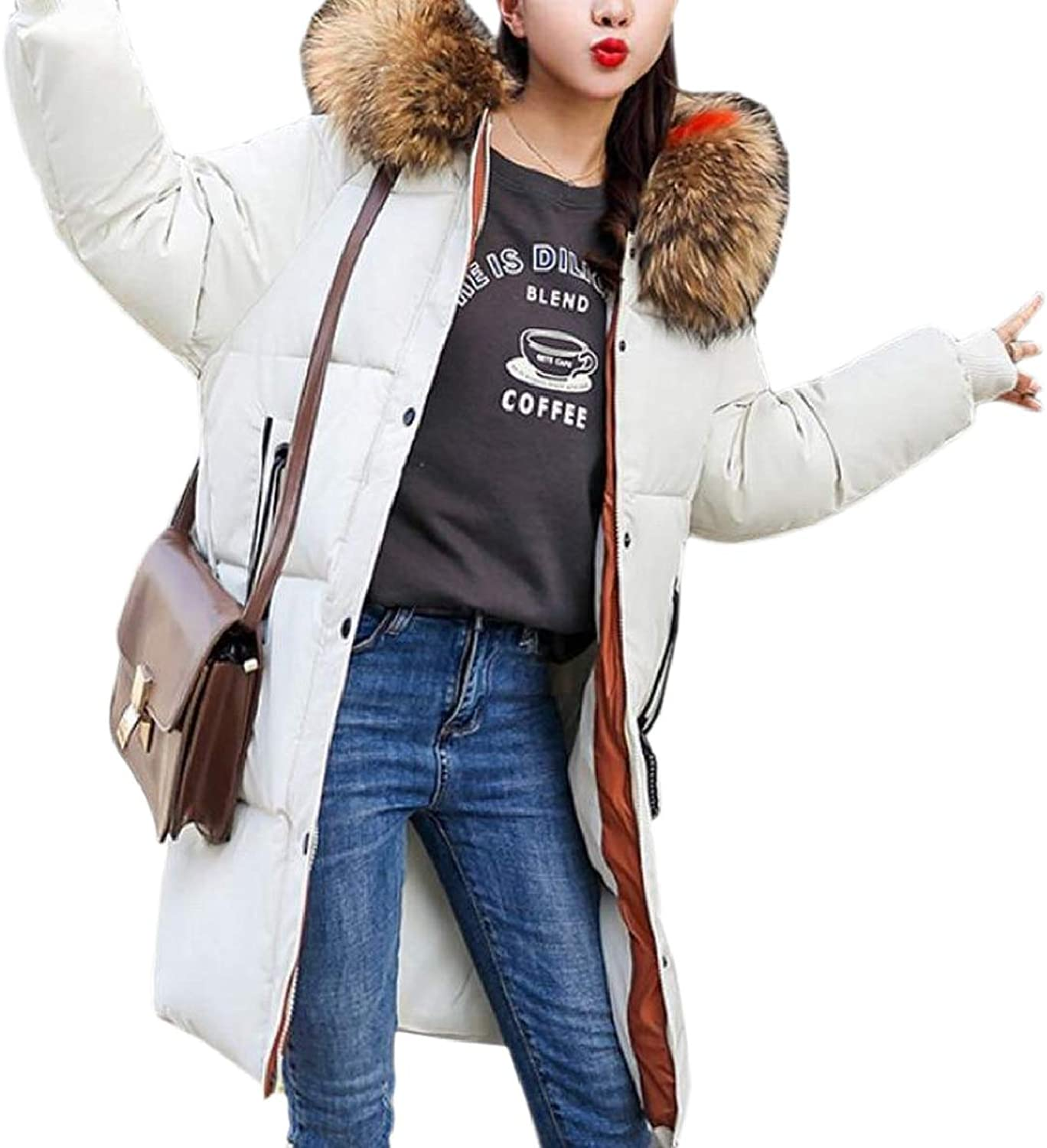 ONTBYB Womens Mid Long Puffer Faux Fur Hood Cotton Padded Winter Parkas Coat