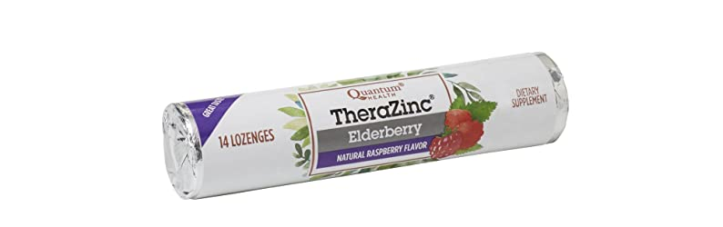 Quantum Health TheraZinc Elderberry Raspberry Lozenges Roll, Immune Support in Tasty USDA Organic Dr