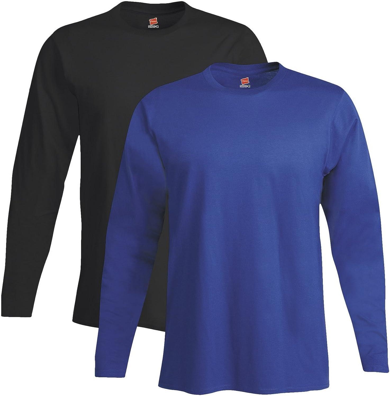Hanes Men's 2 Pack Long Sleeve Nano T-Shirt-1 Black/1 White